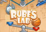 """Cover: Der Schriftzug """"Rube's Lab"""" umgeben von einer Waage und Flaschenzügen"""