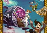 Cover: Ein kastenförmiges Raumschiff schwebt mit offener Tür, an der sich eine rothaarige Frau hinauslehnt und versucht, einen herunterfallenden Mann mit der Hand zu erwischen.