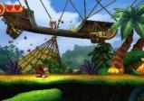 Donkey Kong jagt in einer bunten Spielwelt umher.