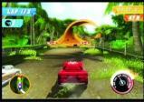 Bunter Rennwagen auf Rennstrecke