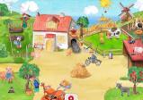 Screenshot: Ein in zeichentrickhafter Manier gehaltener Bauernhof mit einigen Tieren, Menschen und viel Grün.