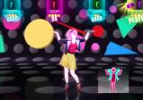 Eine Tänzerin vor knalligem Hintergrund. Auch der Punktestand und ein schematisierter Tanzmove sind eingeblendet.
