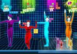 """Vier Avatare tanzen in einfärbigen Ganzkörperanzügen. Der Hintergrund erinnert an das Spiel """"Tetris""""."""