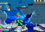 Kirby in einer Szene mit Wasserhindernissen.