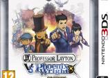 Layton, sein Assisteten, Phoenix Wright und seine Assistentin über dem Schriftzug.
