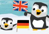 Cover: Zwei Pinguine mit jeweils einer Deutsch und einer Englisch Fahne