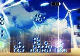 Bunte Spielsteine vor blauem Hintergrund.