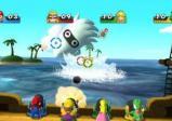 Die Spielfiguren zielen von Board eines Schiffes mit Kanonen auf ein Ungeheuer.