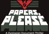 """Logo des Spiels; Ein stilisierter roter Adler unter dem in Blockbuchstaben """"Papers, Please"""" steht"""
