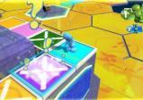 Ein leuchtendes Spielfeld mit einer Spielfigur davor.