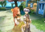 Ein Mädchen und ein Junge in einem Garten.