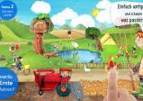 Screenshot: Eine in zeichentrickhafter Manier gehaltene Landschaft mit viel Grün, einem Tümpel und einem Feld, das gerade bestellt wird. Im Vordergrund ein Bub