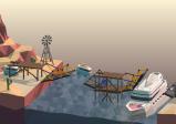 Screenshot: Eine komplizierte Brückenkonstruktion mit zwei Etagen und mehreren Zugbrücken verbindet zwei Wüsenlandschaften. Ein blauer VB-Bully springt über eine Brücke während unter einer anderen Zugbrücke ein Schiff passiert.