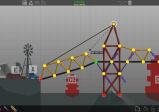 Screenshot: Konstruktionsmenü im Spiel. Schematisch sind verschiedene Brückenelemente zu sehen die über Knoten miteinander verbunden sind.