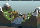 Screenshot: Eine etwas komplexere Brückenkonstruktion verbindet zwei bergige, schneebedeckte Landschaften über einen Fluss.