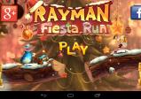 """Spielmenü mit Schriftzug """"Rayman Fiesta Run"""" und den drei Charakteren. Das Bild ist weihnachtlich gestaltet."""