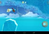 Screenshot von der Spielfigur in einem weihnachtlichen Kostüm. Es wird gerade ein großer Taler eingesammelt.