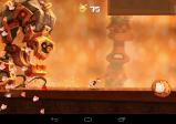 Ein großes skurriles Monster verfolgt die Spielfigur Rayman