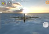 Screenshot: B17 fliegt knapp über dem Meer dem Sonnenuntergang entgegen