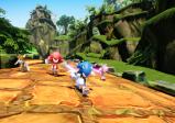 Sonic und seine Freunde rennen durch Tempelruinen.