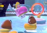 Prinzessin Peach springt auf einem zugefrorenen See in einem Schlittschuh durch einen Reifen.
