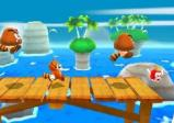 Mario läuft auf einem Steg in Richtung Wasser.