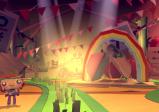 Screenshot: Spielfigur in Landschaft mit Regenbogen