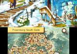 Screen oben: verschneites Dorf und Iglo, Screen unten: Landkarte