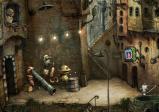 Straßenmusikanten zwischen Wohngebäuden im Steampunk-Stil