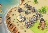 Eine erbaute Siedlung am Strand.