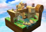 Toad auf einer fliegenden Insel mit vielen Stiegen und Matratzen-Gegnern.