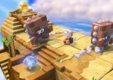 Toad auf dem Weg zu dem Power-Stern, wobei Matratzen-Gegner ihm im Weg stehen.