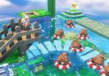 Ein schlafender Toad und viele Gumbas, die schlafend im Wasser treiben.