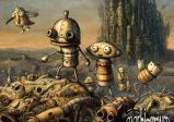 Kleiner Roboter und seine kleine Freundin in der Machinarium-Welt