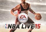 """Cover des Spiels: Der Basketballspieler Damian Lillard steht dribbelnd am Spielfeld; darunter steth """"NBA LIVE 15"""""""