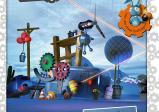 """Cover: Eine durcheinandergewürfelte Ansammlung an Gegenständen wie Zahnräder, Gastanks, Stahlkugeln, ein Laser und verschiedene Ballons. Darüber steht """"Crazy Machines 3"""""""