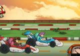 Screenshot: Der Hauptcharakter sitzt in einem roten Rennwagen und duelliert sich mit einem Mann in einem blauen Rennwagen.