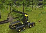Screenshot: Baumstämme werden mittels Greifzange aufgeladen