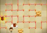 Screenshot: Labyrinth aus Absperrungen