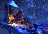Der Gnommagier Wilbur steht vor einer auf einer Holzkiste sitzenden Frau vor einem fantasievollen Schloss abends