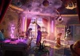 Der in rot gekleidete Wilbur spricht zu einem in violett gekleideten, menschlichen Zauberer in einem Raum mit einem großen Teleskop
