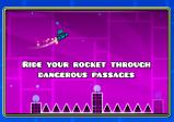 """Screenshot von """"Geometry Dash"""" mit einer fliegenden Rakete"""