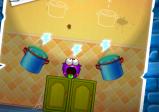 Screenshot: In einem Level sind zwei Töpfe, die als Portale dienen. Dazwischen sitzt die Spielfigur.