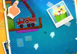 Screenshot: Level in einem Spielzimmer. Es wird die Spielfigur gezogen, so dass sie von einem Feuerwehrauto zur Lichtquelle hüpft.