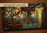 Eine vielarmige Spiel-Kreatur überquert Wasser in einem Wald.
