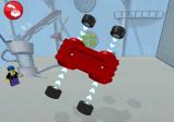 Zusammenbauen eines Fahrzeugs, indem man die Reifen an die Karosserie zieht.