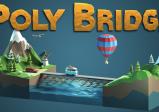 """Logo des Spiels:  Zwei Landstriche mit Bergen und einem Fluss dazwischen sind mittels einer Brücke verbunden über die gerade ein blauer VW-Bully fährt. Darüber steht """"Poly Bridge"""" geschrieben"""