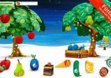 Screenshot: Die Raupe frisst sich durch einen reifen, prallen Apfel, während auf dem Boden noch weiteres Obst verstreut liegt