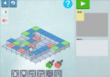 Screenshot: Der Roboter steht vor einem verschiedenfarbigen Weg