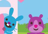 Screenshot: ein violetter Bär besucht einen blauen Hasen